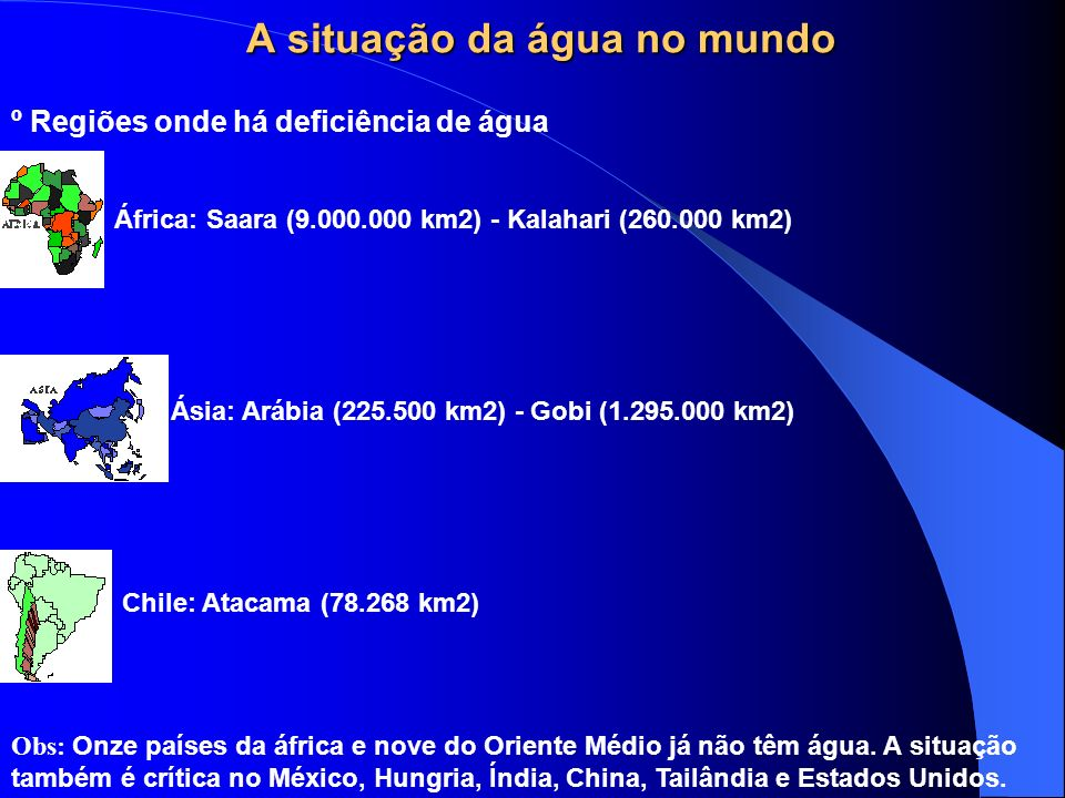A SITUAÇÃO DA ÁGUA NO BRASIL O Brasil detém 11,6% da água doce superficial do mundo. Os 70 % da água disponíveis para uso estão localizados na Região