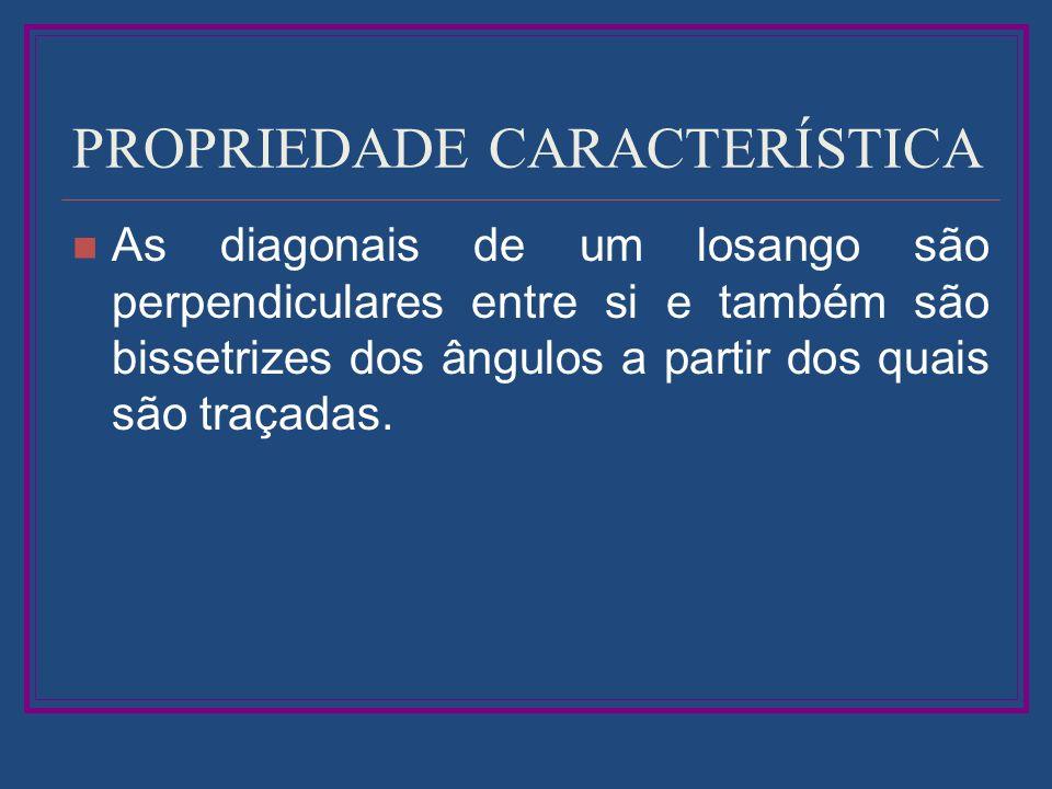 PROPRIEDADE CARACTERÍSTICA As diagonais de um losango são perpendiculares entre si e também são bissetrizes dos ângulos a partir dos quais são traçada