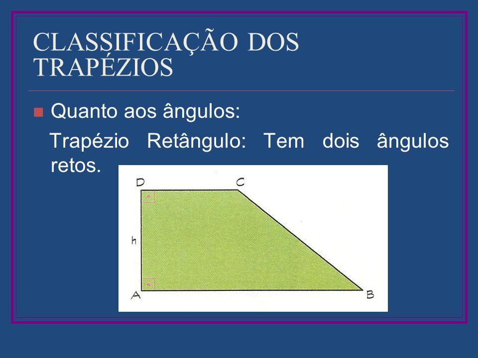CLASSIFICAÇÃO DOS TRAPÉZIOS Quanto aos ângulos: Trapézio Retângulo: Tem dois ângulos retos.