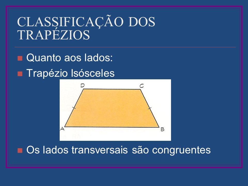 CLASSIFICAÇÃO DOS TRAPÉZIOS Quanto aos lados: Trapézio Isósceles Os lados transversais são congruentes