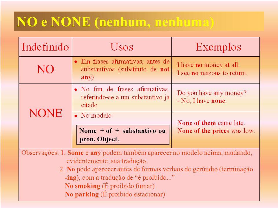 NO e NONE (nenhum, nenhuma) Observações: 1. Some e any podem também aparecer no modelo acima, mudando, evidentemente, sua tradução. 2. No pode aparece
