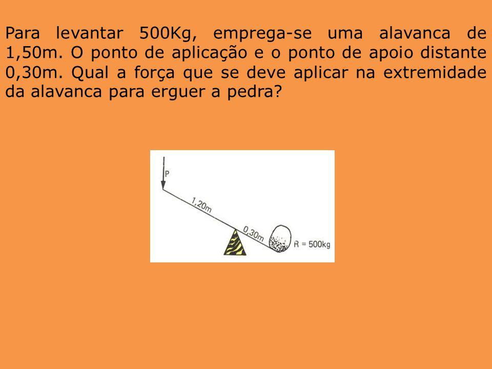 Para levantar 500Kg, emprega-se uma alavanca de 1,50m. O ponto de aplicação e o ponto de apoio distante 0,30m. Qual a força que se deve aplicar na ext