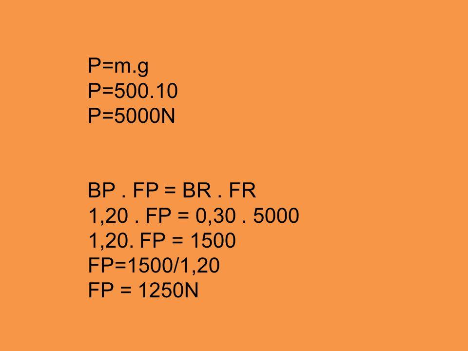 P=m.g P=500.10 P=5000N BP. FP = BR. FR 1,20. FP = 0,30. 5000 1,20. FP = 1500 FP=1500/1,20 FP = 1250N