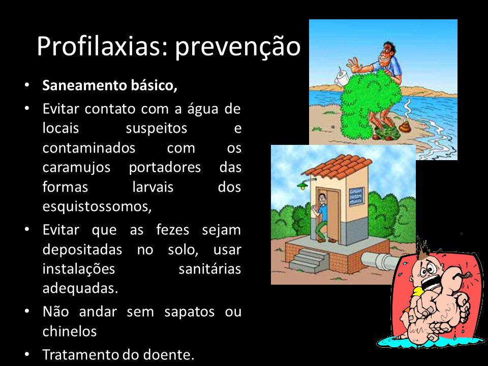 Profilaxias: prevenção Saneamento básico, Evitar contato com a água de locais suspeitos e contaminados com os caramujos portadores das formas larvais