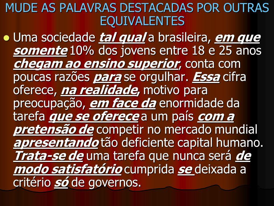 MUDE AS PALAVRAS DESTACADAS POR OUTRAS EQUIVALENTES Uma sociedade tal qual a brasileira, em que somente 10% dos jovens entre 18 e 25 anos chegam ao en