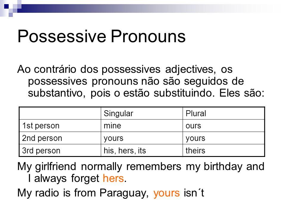 Ao contrário dos possessives adjectives, os possessives pronouns não são seguidos de substantivo, pois o estão substituindo.