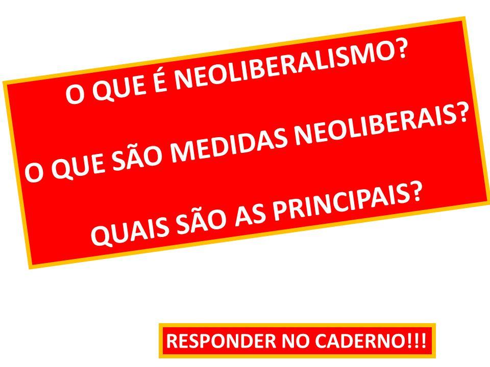 O QUE É NEOLIBERALISMO? O QUE SÃO MEDIDAS NEOLIBERAIS? QUAIS SÃO AS PRINCIPAIS? RESPONDER NO CADERNO!!!