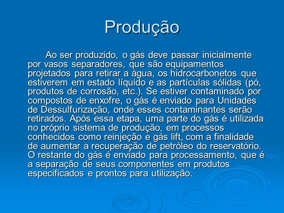 Produção Ao ser produzido, o gás deve passar inicialmente por vasos separadores, que são equipamentos projetados para retirar a água, os hidrocarbonet