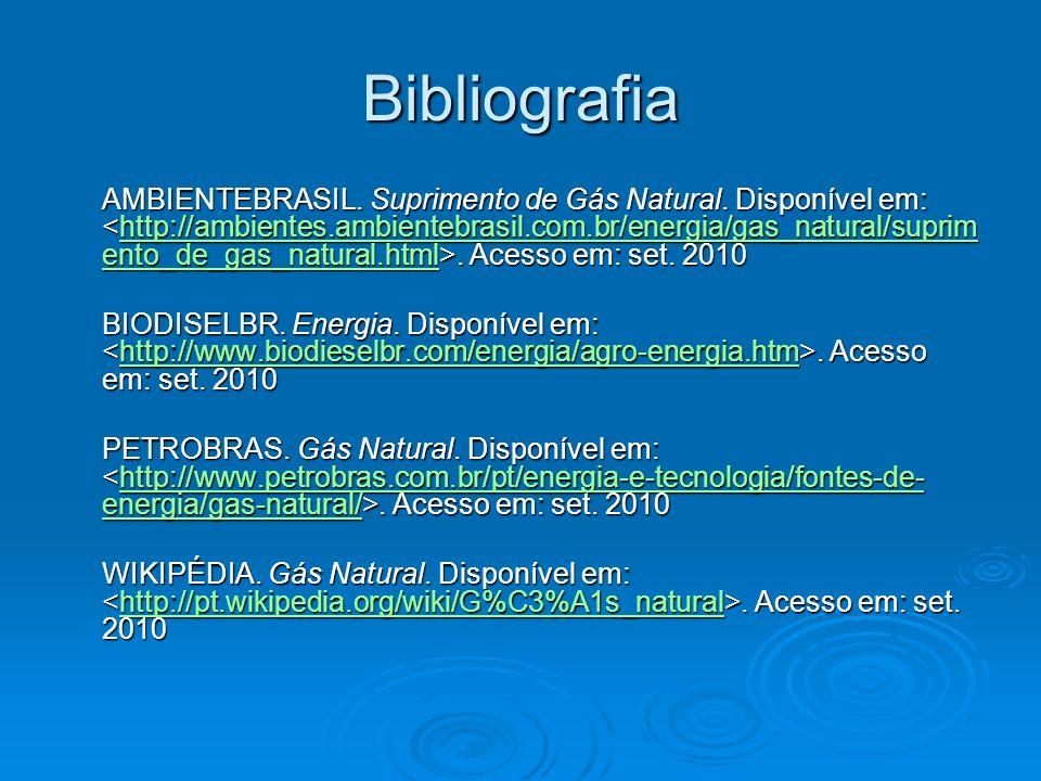 Bibliografia AMBIENTEBRASIL. Suprimento de Gás Natural. Disponível em:. Acesso em: set. 2010 http://ambientes.ambientebrasil.com.br/energia/gas_natura