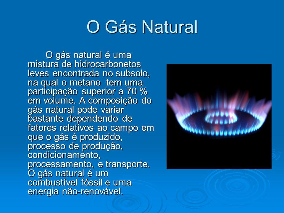 O Gás Natural O gás natural é uma mistura de hidrocarbonetos leves encontrada no subsolo, na qual o metano tem uma participação superior a 70 % em vol