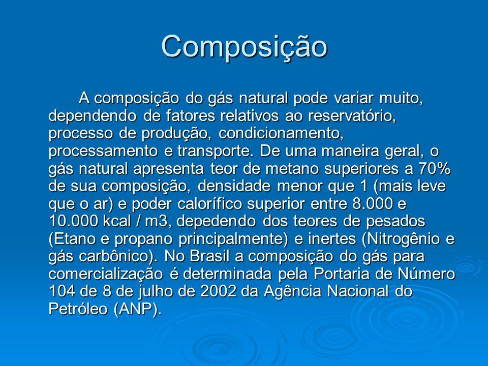 Composição A composição do gás natural pode variar muito, dependendo de fatores relativos ao reservatório, processo de produção, condicionamento, proc