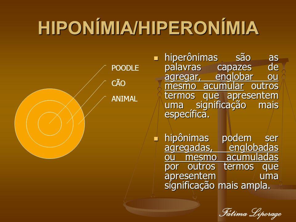 HIPONÍMIA/HIPERONÍMIA hiperônimas são as palavras capazes de agregar, englobar ou mesmo acumular outros termos que apresentem uma significação mais es