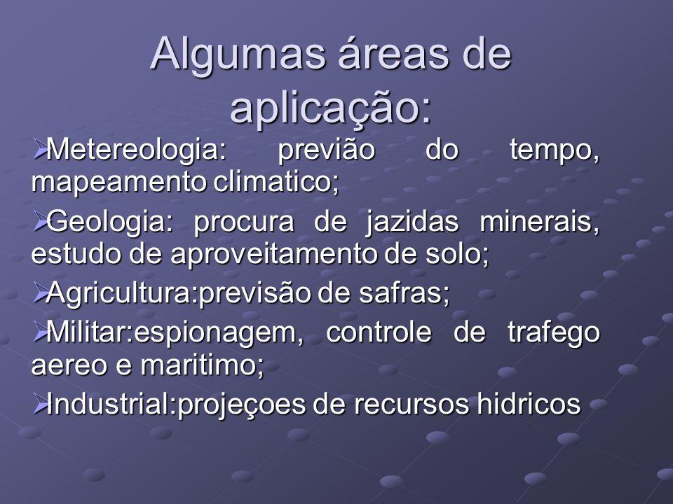Algumas áreas de aplicação: Metereologia: previão do tempo, mapeamento climatico; Metereologia: previão do tempo, mapeamento climatico; Geologia: proc