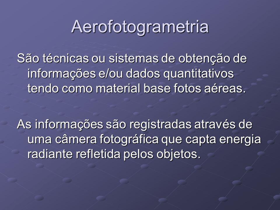Aerofotogrametria São técnicas ou sistemas de obtenção de informações e/ou dados quantitativos tendo como material base fotos aéreas. As informações s