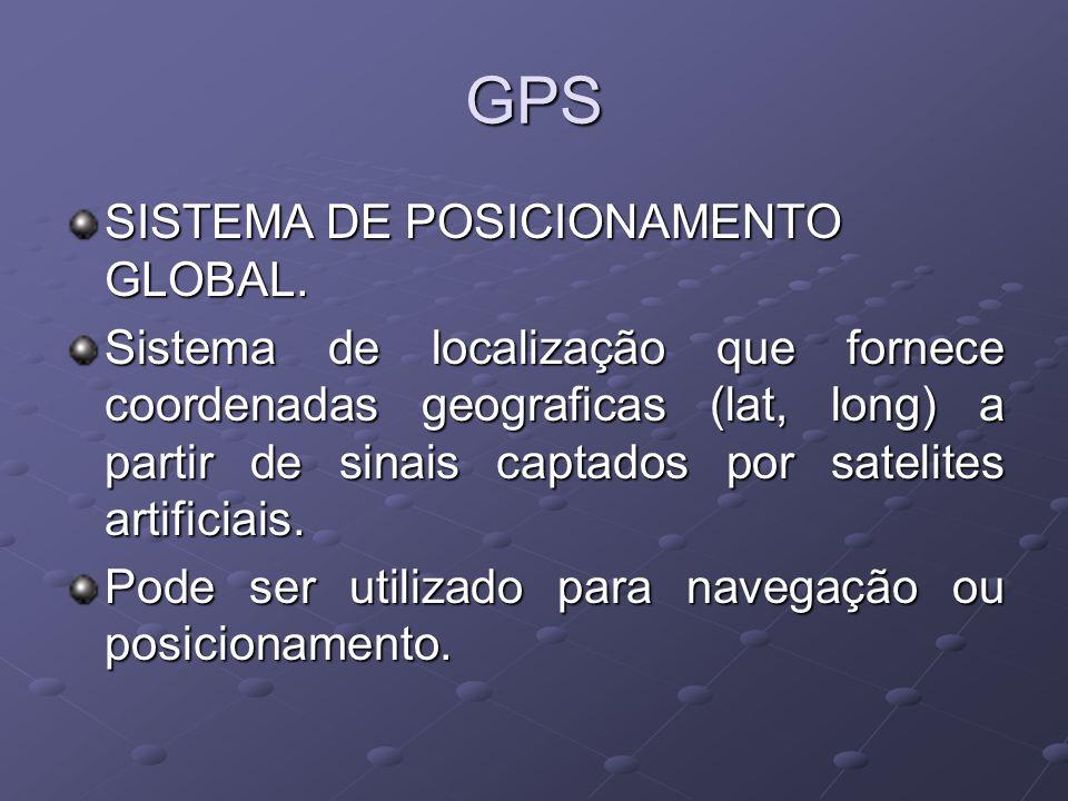 GPS SISTEMA DE POSICIONAMENTO GLOBAL. Sistema de localização que fornece coordenadas geograficas (lat, long) a partir de sinais captados por satelites