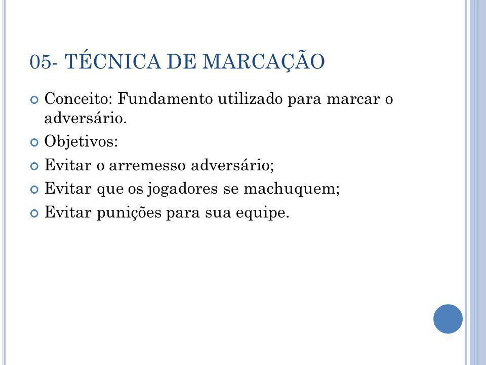 05- TÉCNICA DE MARCAÇÃO Conceito: Fundamento utilizado para marcar o adversário. Objetivos: Evitar o arremesso adversário; Evitar que os jogadores se