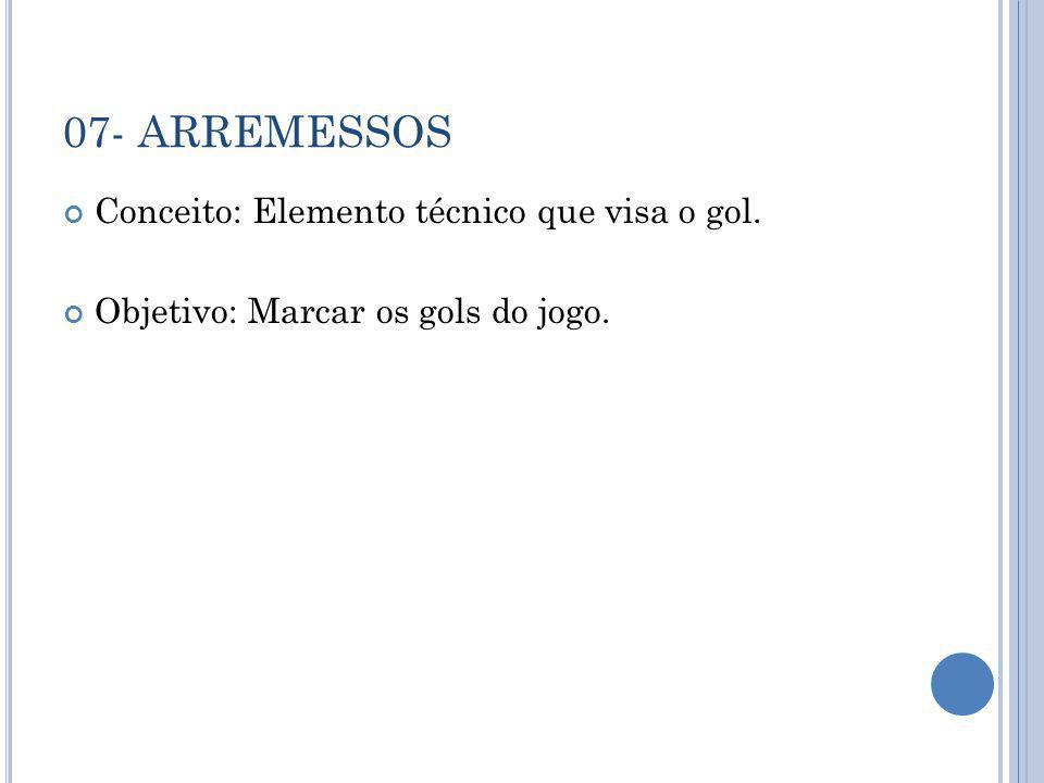 07- ARREMESSOS Conceito: Elemento técnico que visa o gol. Objetivo: Marcar os gols do jogo.