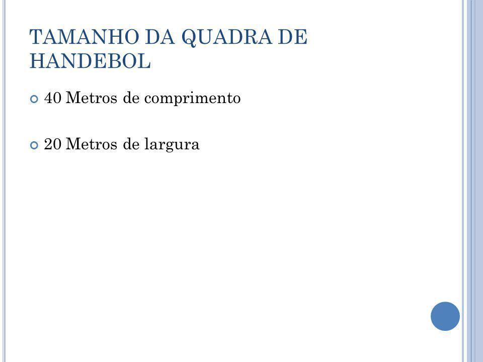 TAMANHO DA QUADRA DE HANDEBOL 40 Metros de comprimento 20 Metros de largura