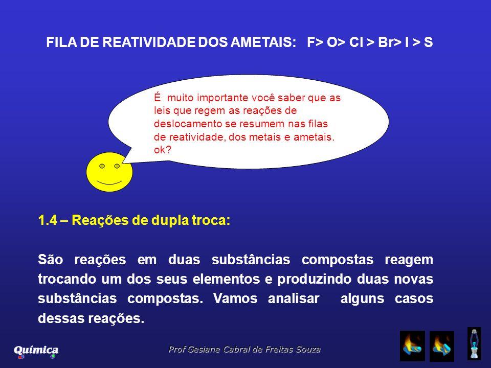 Prof Gesiane Cabral de Freitas Souza É muito importante você saber que as leis que regem as reações de deslocamento se resumem nas filas de reatividad