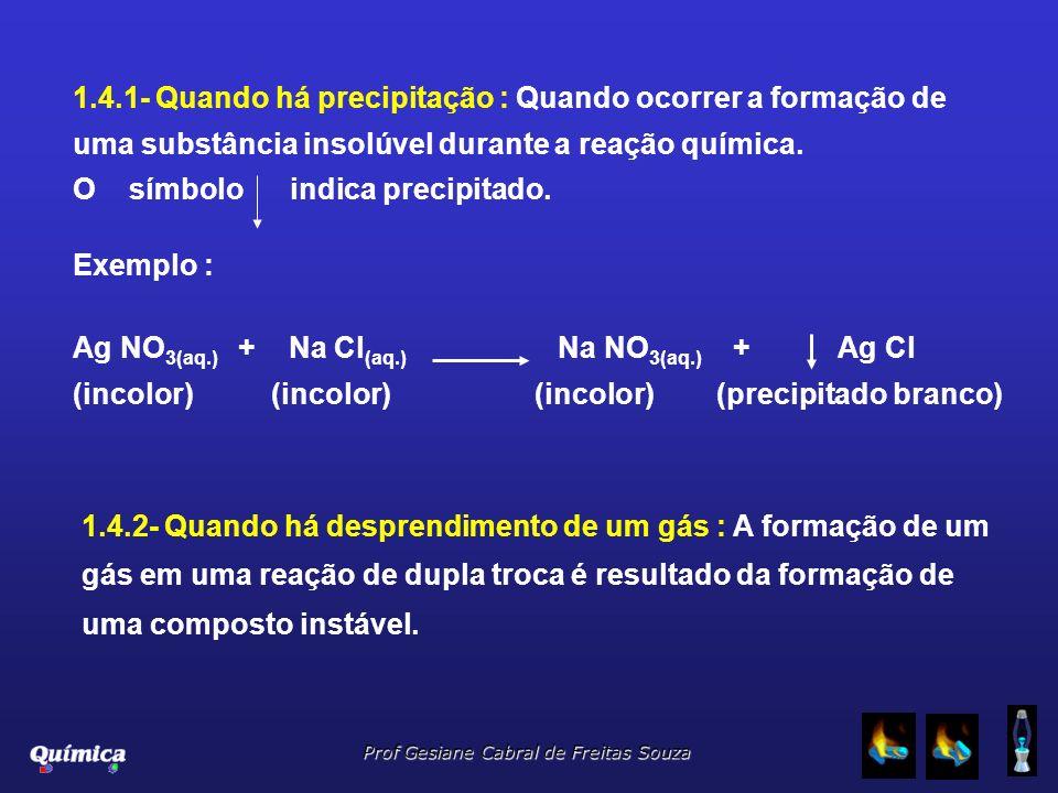 1.4.2- Quando há desprendimento de um gás : A formação de um gás em uma reação de dupla troca é resultado da formação de uma composto instável. Exempl