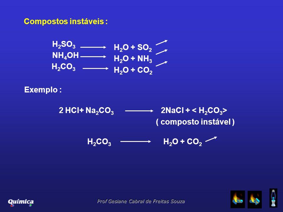 Prof Gesiane Cabral de Freitas Souza Compostos instáveis : H 2 SO 3 NH 4 OH H 2 CO 3 H 2 O + SO 2 H 2 O + NH 3 H 2 O + CO 2 Exemplo : 2 HCl+ Na 2 CO 3