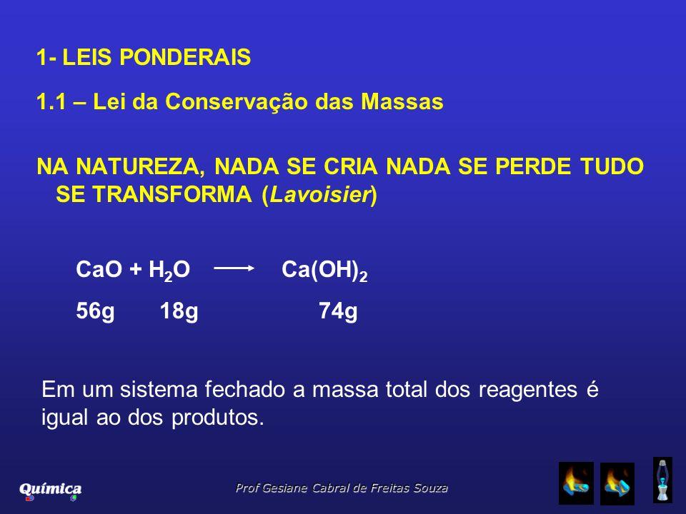 1- LEIS PONDERAIS 1.1 – Lei da Conservação das Massas NA NATUREZA, NADA SE CRIA NADA SE PERDE TUDO SE TRANSFORMA (Lavoisier) CaO + H 2 OCa(OH) 2 56g 1