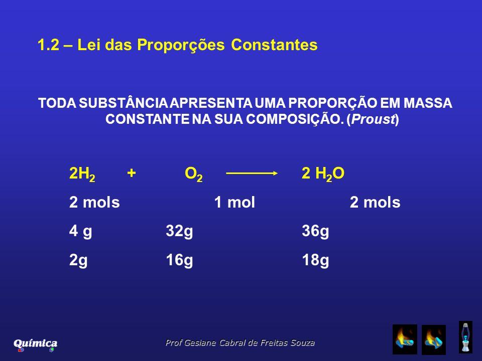 Prof Gesiane Cabral de Freitas Souza 1.2 – Lei das Proporções Constantes TODA SUBSTÂNCIA APRESENTA UMA PROPORÇÃO EM MASSA CONSTANTE NA SUA COMPOSIÇÃO.