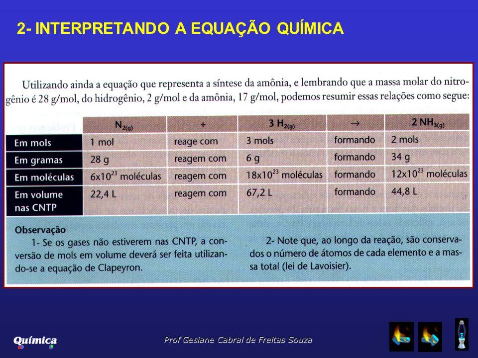 Prof Gesiane Cabral de Freitas Souza 2- INTERPRETANDO A EQUAÇÃO QUÍMICA