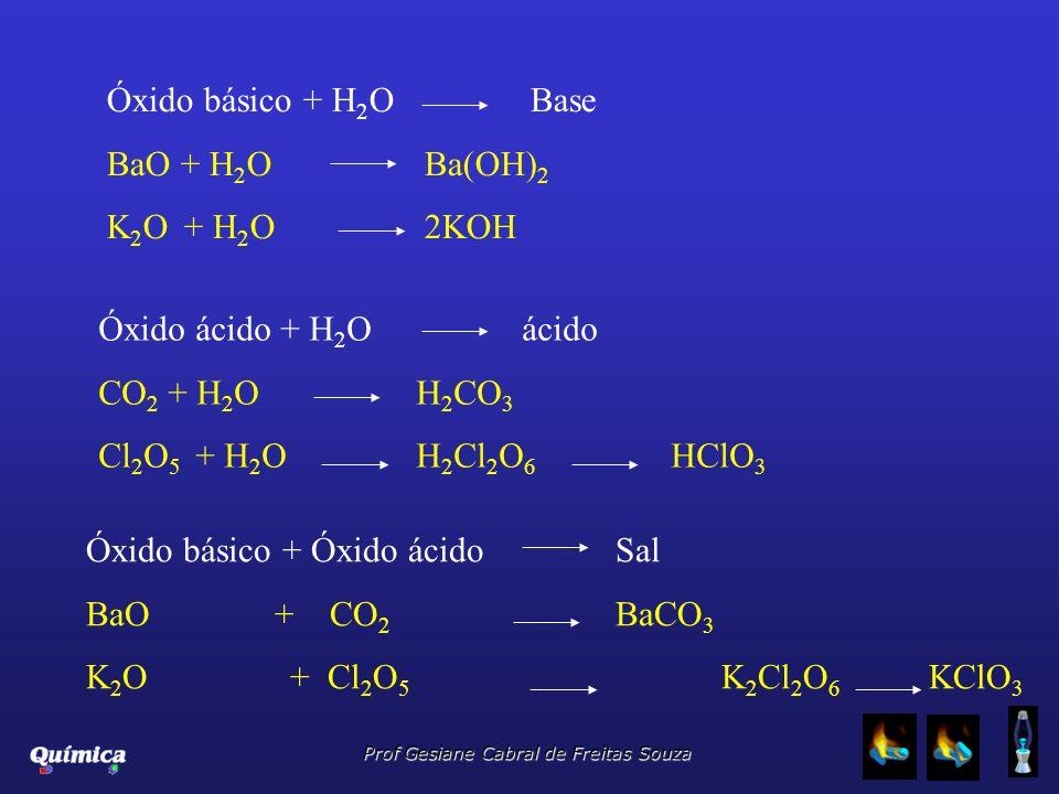 Prof Gesiane Cabral de Freitas Souza Óxido básico + H 2 OBase BaO + H 2 OBa(OH) 2 K 2 O + H 2 O2KOH Óxido ácido + H 2 Oácido CO 2 + H 2 OH 2 CO 3 Cl 2