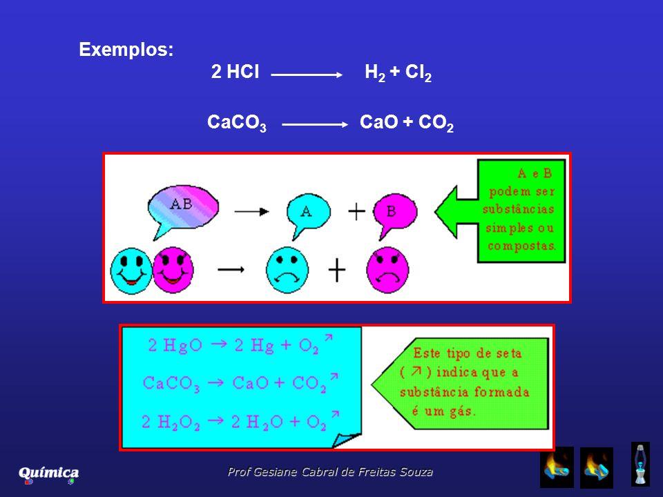 Prof Gesiane Cabral de Freitas Souza CaCO 3 CaO + CO 2 Exemplos: 2 HCl H 2 + Cl 2