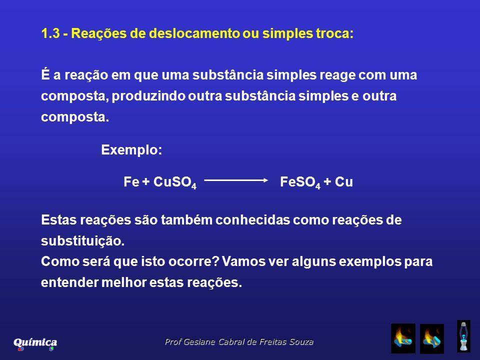 Prof Gesiane Cabral de Freitas Souza 1.3 - Reações de deslocamento ou simples troca: É a reação em que uma substância simples reage com uma composta,