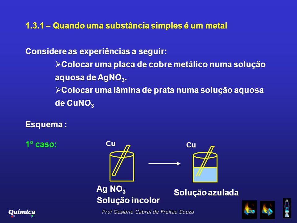 Prof Gesiane Cabral de Freitas Souza 1.3.1 – Quando uma substância simples é um metal Considere as experiências a seguir: Colocar uma placa de cobre m