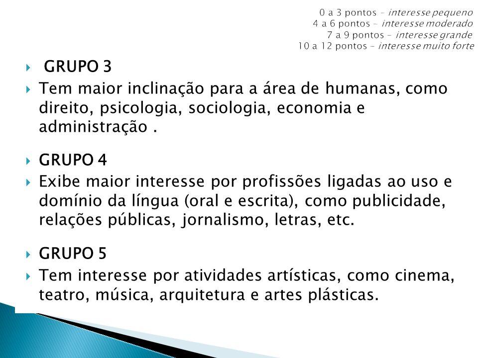 GRUPO 3 Tem maior inclinação para a área de humanas, como direito, psicologia, sociologia, economia e administração. GRUPO 4 Exibe maior interesse por