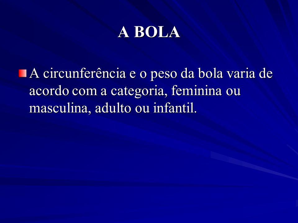 A BOLA A circunferência e o peso da bola varia de acordo com a categoria, feminina ou masculina, adulto ou infantil.