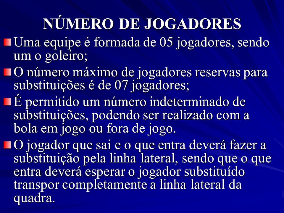 NÚMERO DE JOGADORES Uma equipe é formada de 05 jogadores, sendo um o goleiro; O número máximo de jogadores reservas para substituições é de 07 jogador