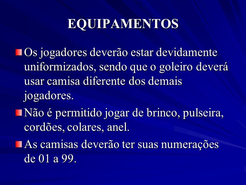 EQUIPAMENTOS Os jogadores deverão estar devidamente uniformizados, sendo que o goleiro deverá usar camisa diferente dos demais jogadores. Não é permit