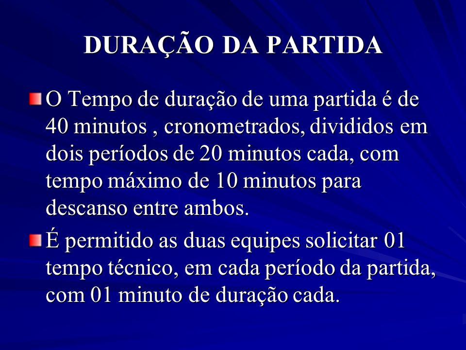 DURAÇÃO DA PARTIDA O Tempo de duração de uma partida é de 40 minutos, cronometrados, divididos em dois períodos de 20 minutos cada, com tempo máximo d