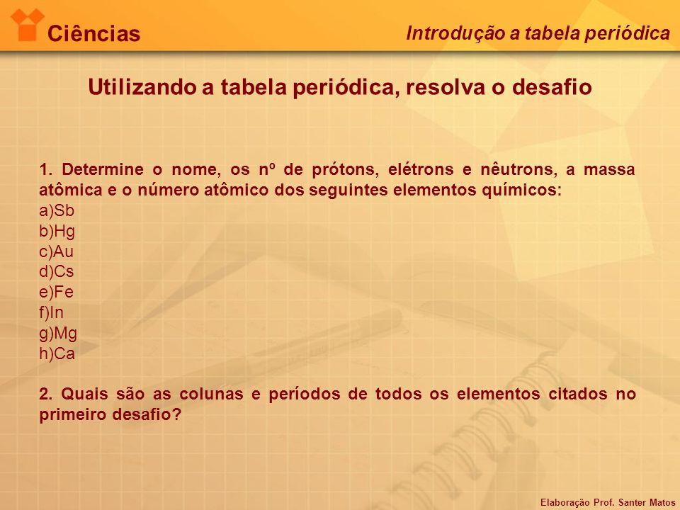 Elaboração Prof. Santer Matos Ciências Introdução a tabela periódica Utilizando a tabela periódica, resolva o desafio 1. Determine o nome, os nº de pr