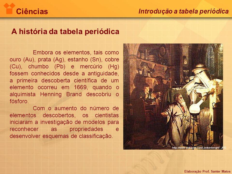 Elaboração Prof. Santer Matos Ciências Introdução a tabela periódica A história da tabela periódica Embora os elementos, tais como ouro (Au), prata (A