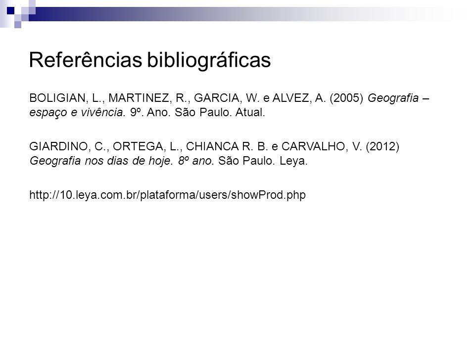 Referências bibliográficas BOLIGIAN, L., MARTINEZ, R., GARCIA, W. e ALVEZ, A. (2005) Geografia – espaço e vivência. 9º. Ano. São Paulo. Atual. GIARDIN