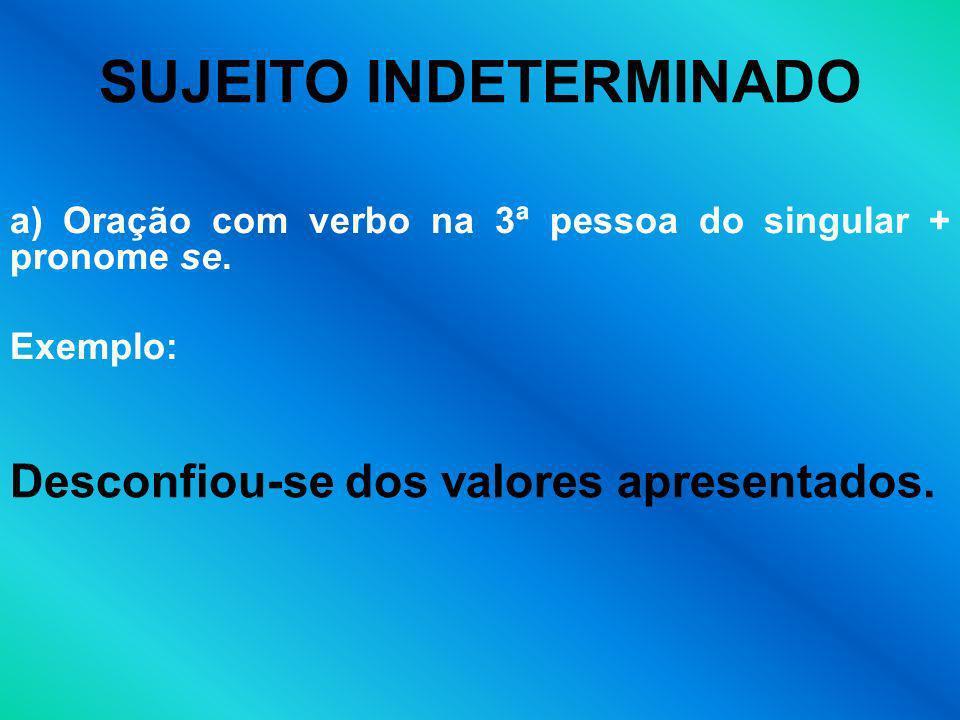 SUJEITO INDETERMINADO a) Oração com verbo na 3ª pessoa do singular + pronome se. Exemplo: Desconfiou-se dos valores apresentados.