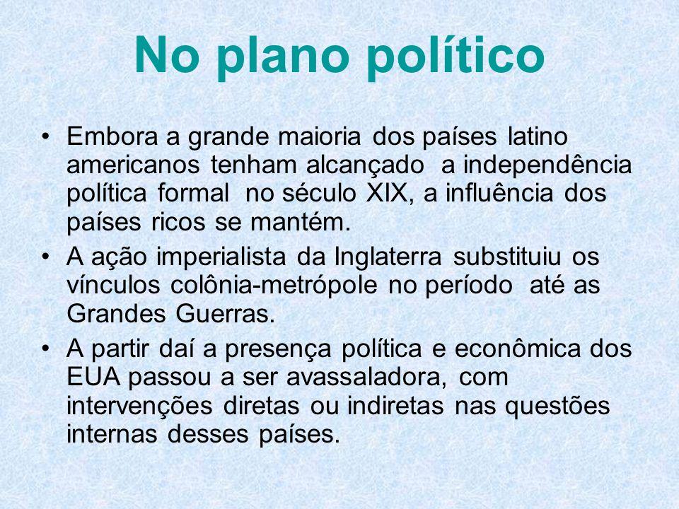 No plano político Embora a grande maioria dos países latino americanos tenham alcançado a independência política formal no século XIX, a influência do