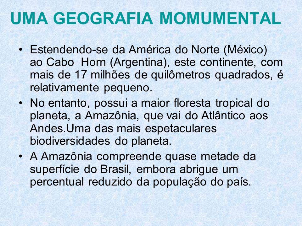 UMA GEOGRAFIA MOMUMENTAL Estendendo-se da América do Norte (México) ao Cabo Horn (Argentina), este continente, com mais de 17 milhões de quilômetros q