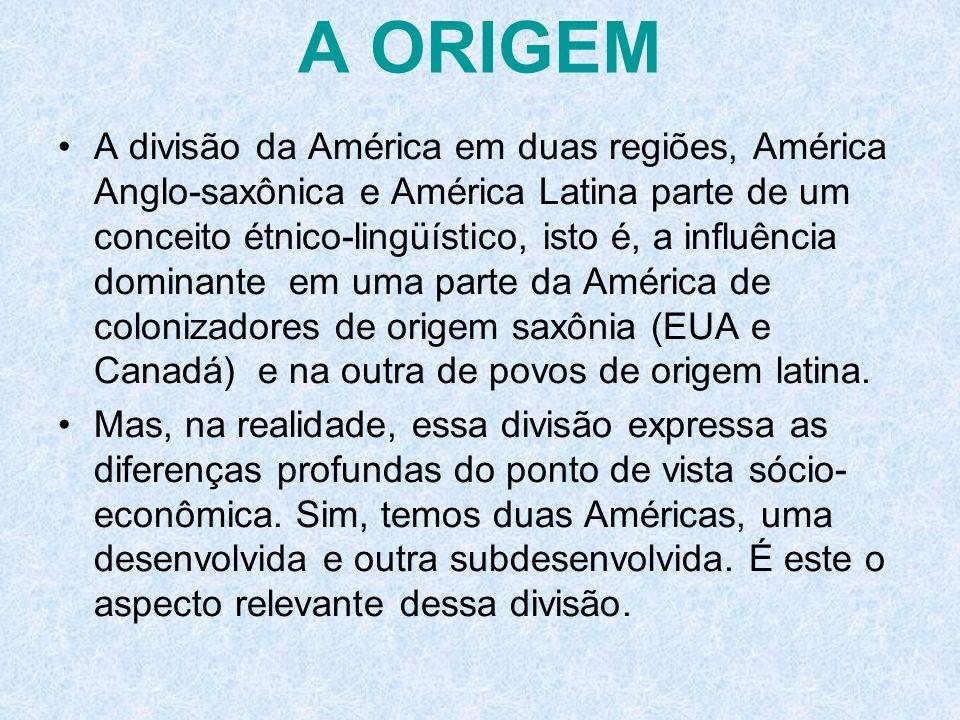 A ORIGEM A divisão da América em duas regiões, América Anglo-saxônica e América Latina parte de um conceito étnico-lingüístico, isto é, a influência d