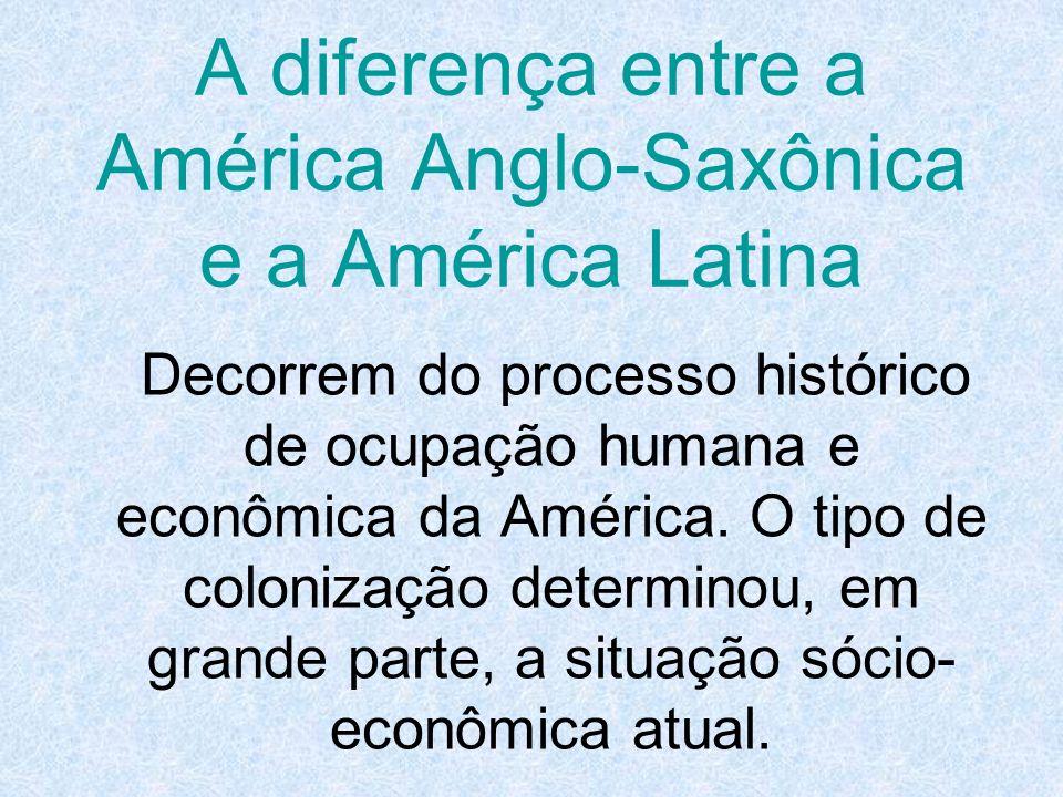 A diferença entre a América Anglo-Saxônica e a América Latina Decorrem do processo histórico de ocupação humana e econômica da América. O tipo de colo