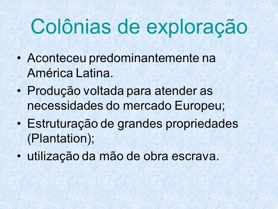 Colônias de exploração Aconteceu predominantemente na América Latina. Produção voltada para atender as necessidades do mercado Europeu; Estruturação d