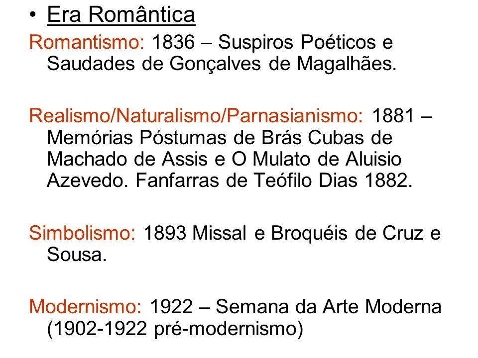 Era Romântica Romantismo: 1836 – Suspiros Poéticos e Saudades de Gonçalves de Magalhães. Realismo/Naturalismo/Parnasianismo: 1881 – Memórias Póstumas