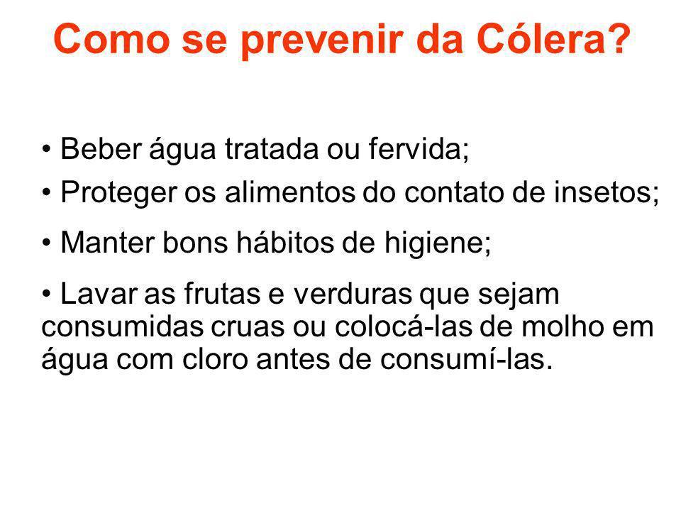 Como se prevenir da Cólera? Beber água tratada ou fervida; Proteger os alimentos do contato de insetos; Manter bons hábitos de higiene; Lavar as fruta