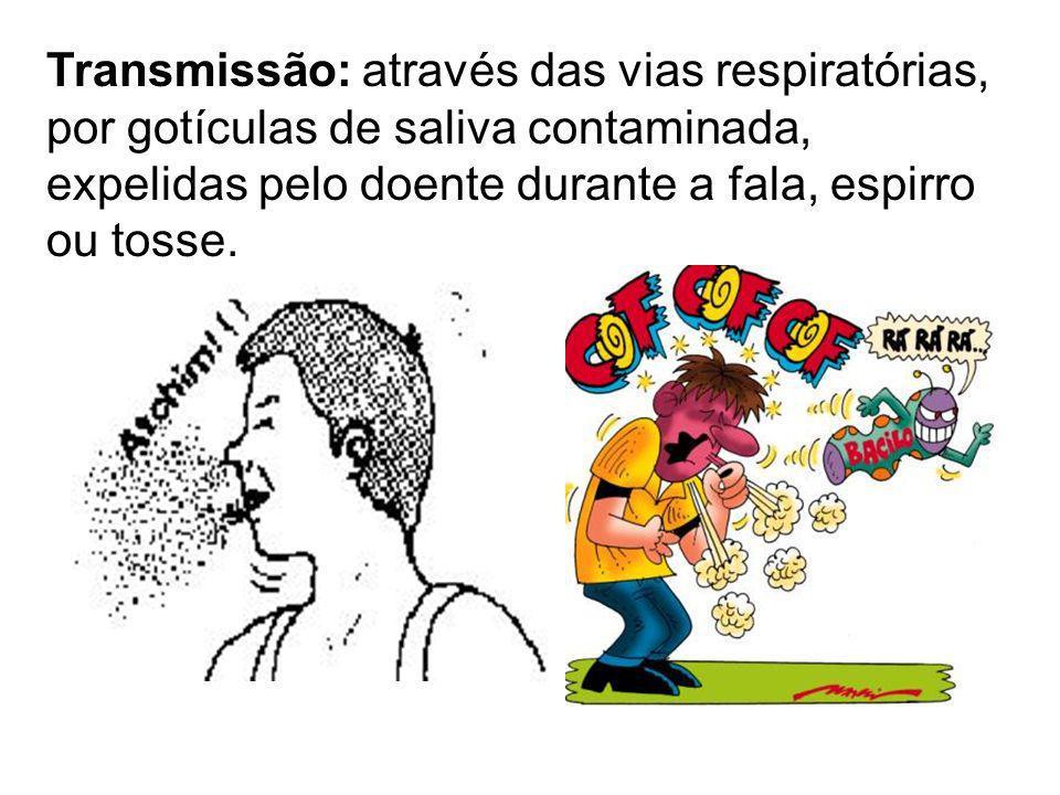 Transmissão: através das vias respiratórias, por gotículas de saliva contaminada, expelidas pelo doente durante a fala, espirro ou tosse.