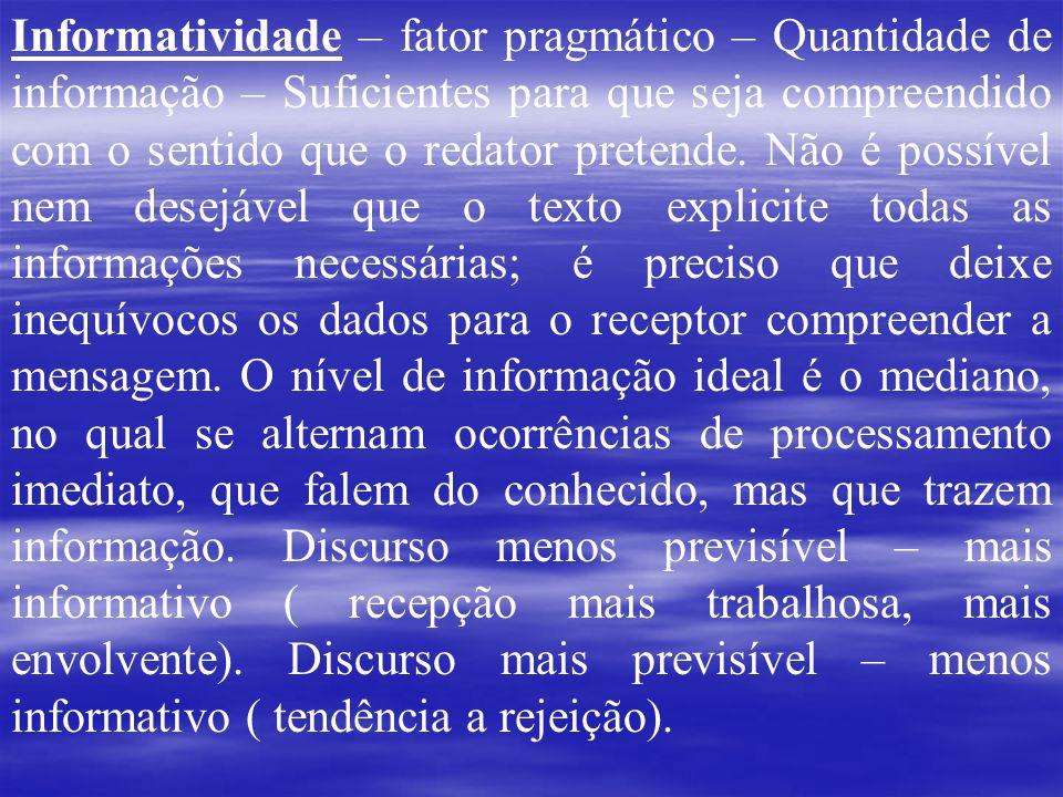 Informatividade – fator pragmático – Quantidade de informação – Suficientes para que seja compreendido com o sentido que o redator pretende. Não é pos